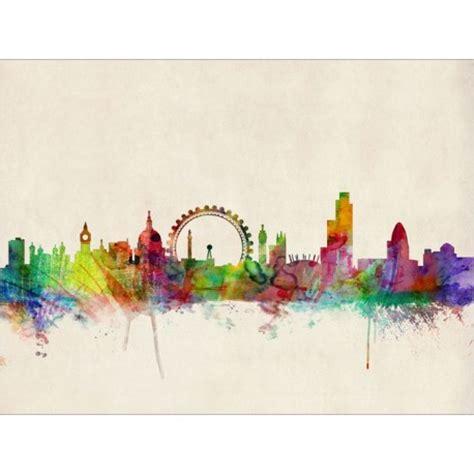london skyline watercolour art canvas print