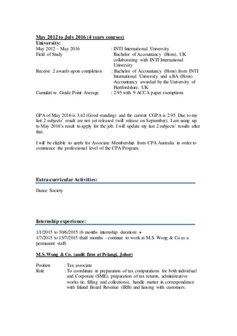 Weis Resume by Yap Chee Wei S Resume