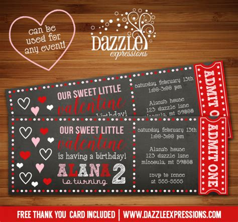 printable valentine tickets printable valentines day chalkboard ticket birthday