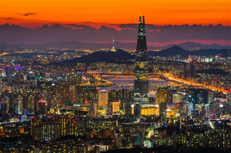 seoul city skyline downtown view  south korea photo