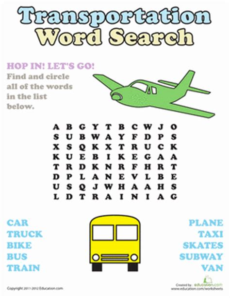 Car Types Word Search by Word Search Transportation Worksheet Education