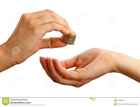 To Give giving stack of coins to another person stock