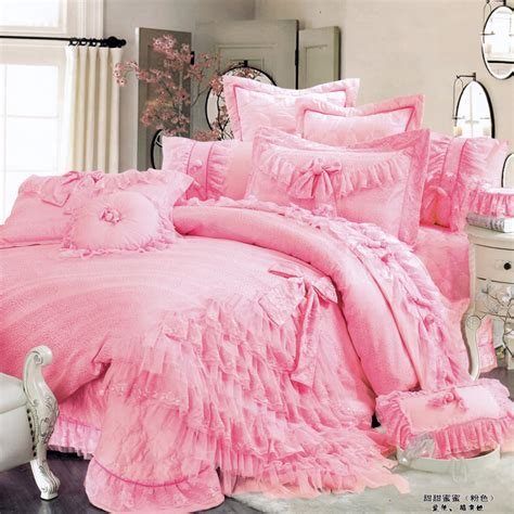 ruffle bedding set luxury lace ruffle bow wedding bedding sets romantic