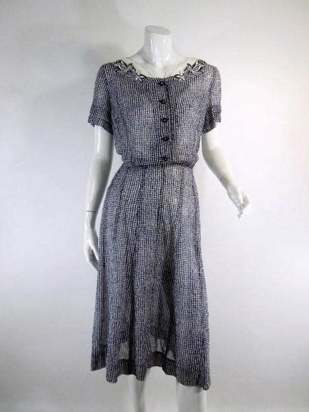 Who Wore It Better Karta Geometric Jeweled Dress by Vintage 1940s 1950 Day Dress Navy White Cotton Voile By