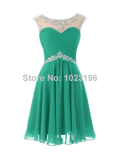 Green crystal chiffon prom dress homecoming party dresses short junior