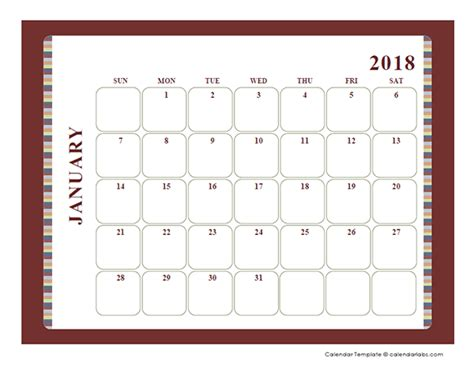 blank calendar large boxes template  printable templates