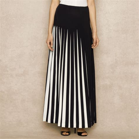 ralph blue label contrasting pleated silk skirt in
