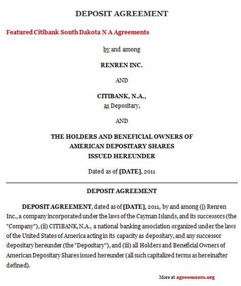 Sle Deposit Agreement Letter Deposit Agreement Sle Deposit Agreement Template Agreements Org