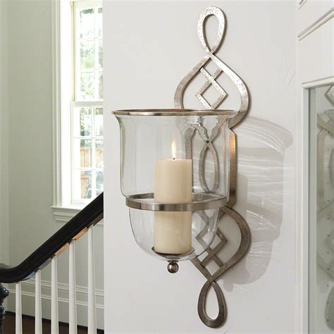 Glass Wall Sconce Candle Holder Wall Sconce Ideas Looking Silver Finish Iron Motive Hurricane Wall Sconce Bowl Shaped