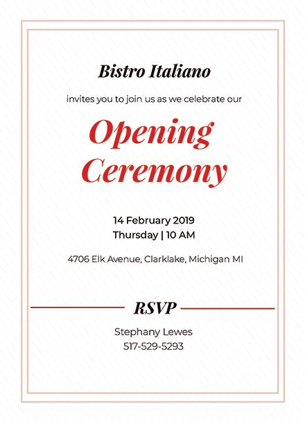 invitation card templates for opening ceremony opening ceremony invitation card template 344
