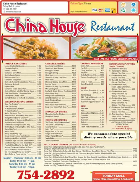 China House Hours by China House Restaurant Menu Hours Prices 141 Torbay