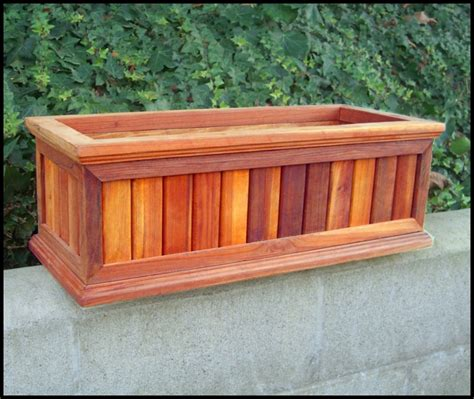 30 Quot Redwood Framed Slatted Window Planter With Easy Up Cleat Redwood Planter Box