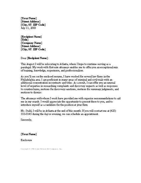 paralegal cover letter letter templates