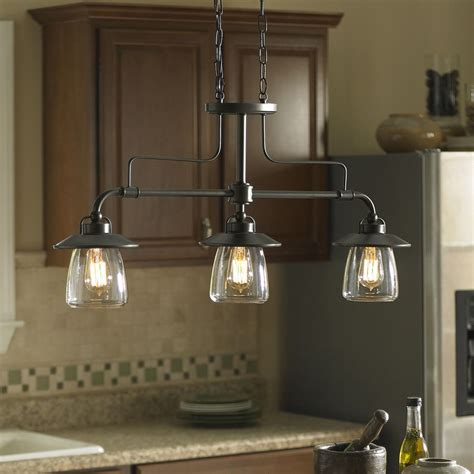 kitchen island lights fixtures shop allen roth bristow 36 in w 3 light mission bronze