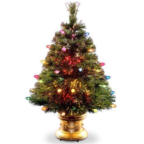 fibre optic xmas trees kmart national tree company 48 quot fiber optic tree with multicolor bulbs