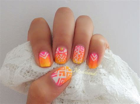 imagenes de uñas trivales dise 241 o de u 241 as azteca tribal ombre tribal nail design