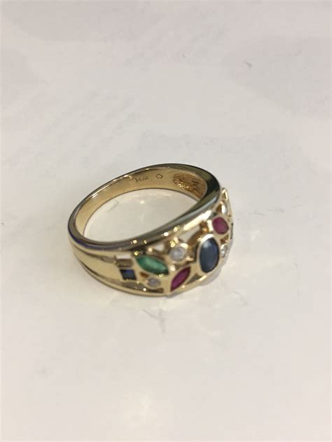 14k yellow gold ring w colored stones size 6 5