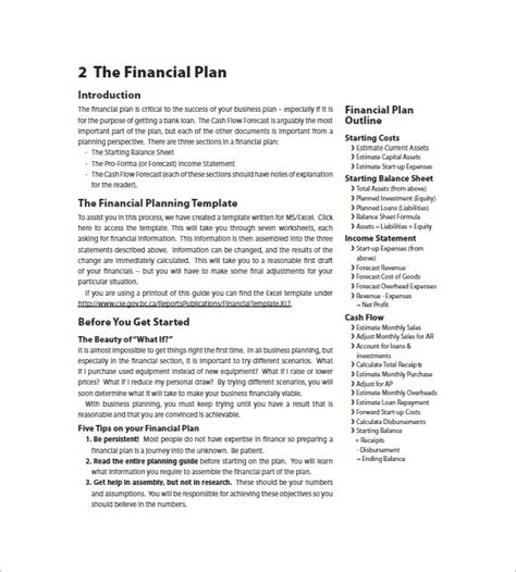 financial business plan template financial business plan template 14 free word excel