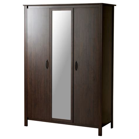 Free Standing Closets With Doors Brusali Wardrobe With 3 Doors Brown 131x190 Cm Ikea