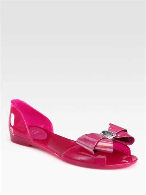 jelly sandals stuart weitzman gemini jeweled bow jelly sandals in purple