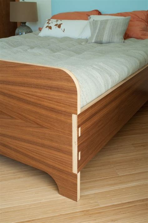 plywood bed footboard mortise and tenon joint with exposed plywood