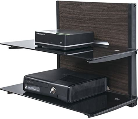fitueyes 2 tier wood av shelf component wall mount with