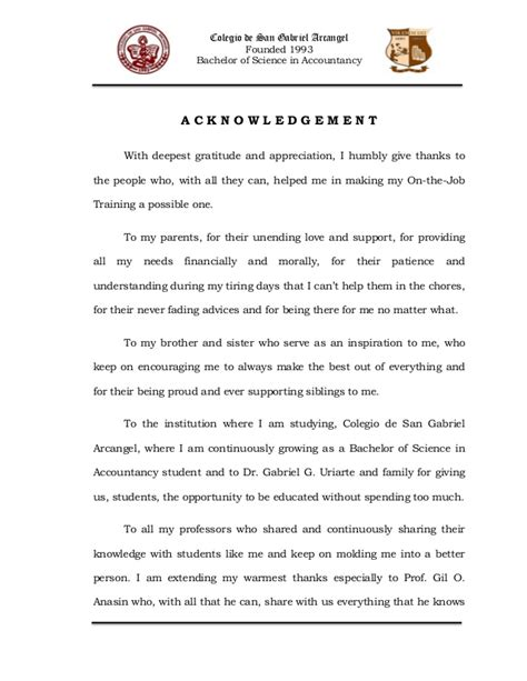 Acknowledgement Letter After Ojt Narrative Report In Ojt