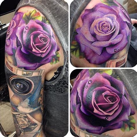 purple rose shoulder tattoo 1000 ideas about purple tattoos on