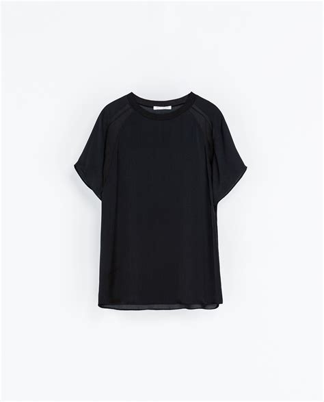 Diskon Tshirt Combi Zara zara combination t shirt in black lyst
