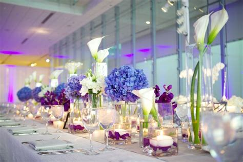 purple and white centerpieces for weddings modern purple blue white wedding at contemporary