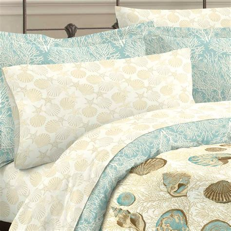 seashell comforter set blue coastal seashell bedding king