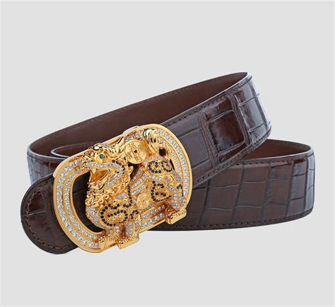pin crocodile skins on luxury alligator skin belt with zircons and kylin pattern pin buckle