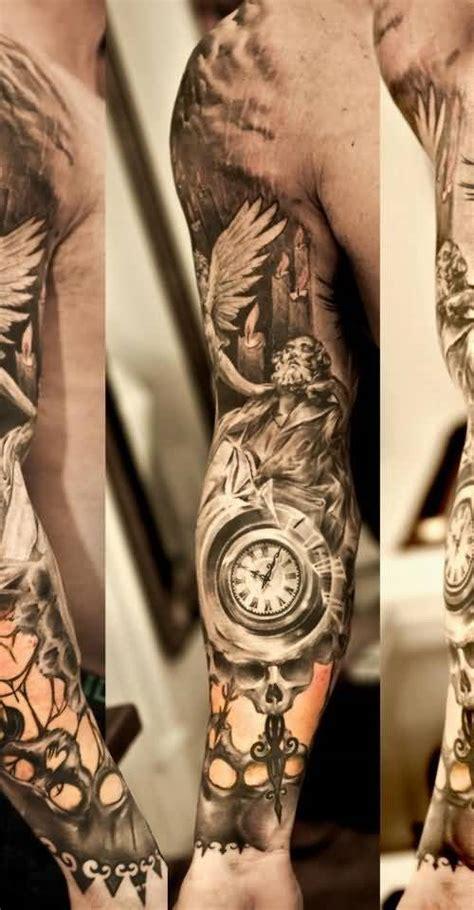 tattoo angel and clock 28 awesome clock sleeve tattoo