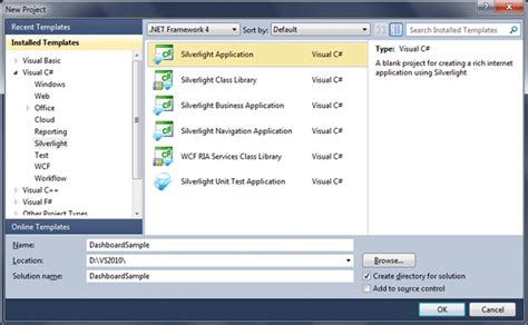 Dashboard In Silverlight 4 Visual Studio Dashboard Template