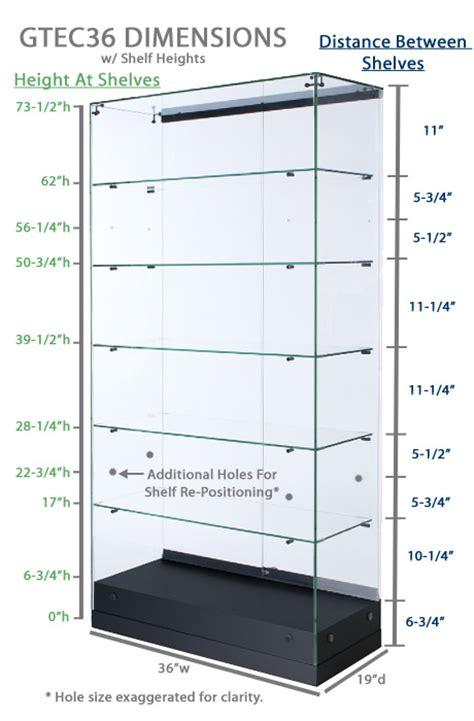 Shelf Measurements by Glass Canopy Display Cherry Laminated Frameless Showcase