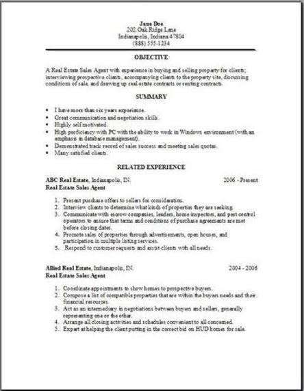 Resume Sles Real Estate real estate resume objective real estate resume doe writing resume sle writing