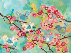 Cherry blossom birds stretched canvas art by oopsy daisy art