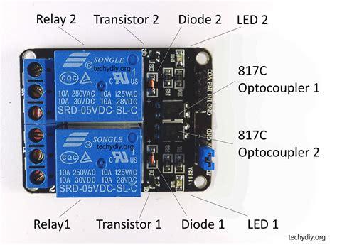 opto isolated dual relay module arduino techydiy