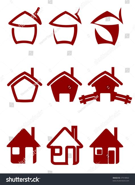 Or Logo Real Estate Symbols For Design And Decorate Abstract Building Emblem Or Logo Template Stock