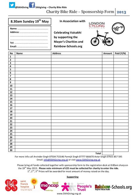 Sponsorship Letter Cycling Charity Bike Ride Sikhgiving Org Uk