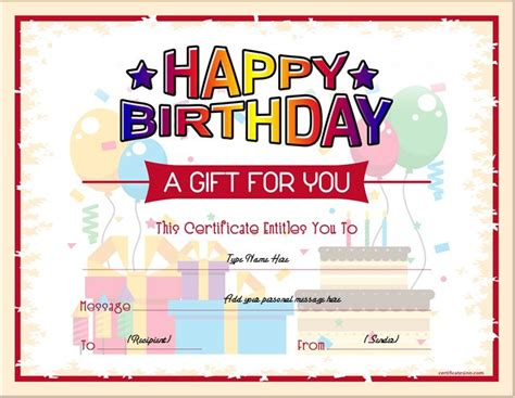 Birthday Gift Certificate Sle Templates For Word Professional Certificate Templates Birthday Gift Coupon Template