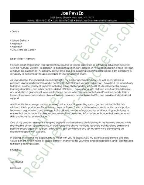 Resume Cover Letter Education Physical Education Cover Letter Sle