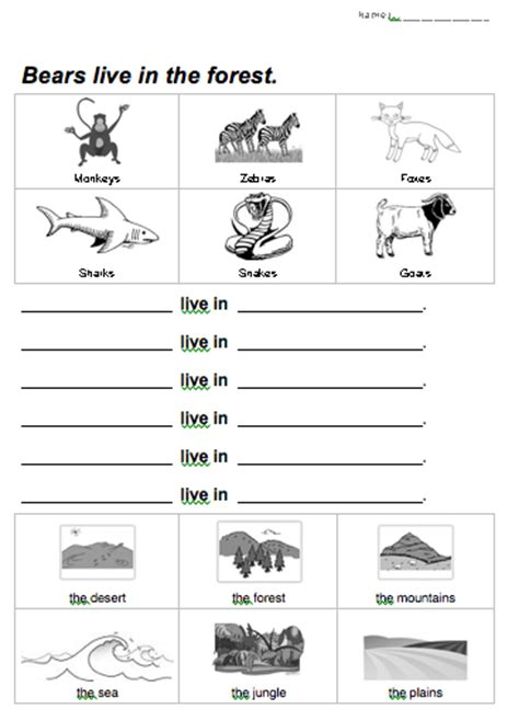 printable worksheets animal homes animal habitat worksheet animal habitats pinterest