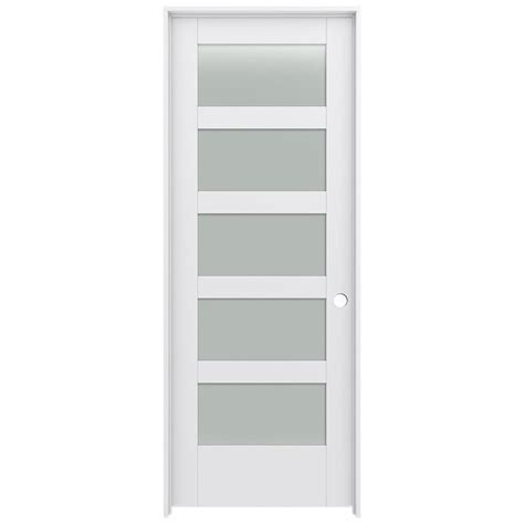 Shop Jeld Wen Moda Frosted Glass Pine Single Prehung Prehung Interior Door With Glass