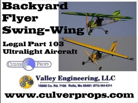 park flyers backyard flyers valley engineering backyard flyer swing wing ultralight aircraft
