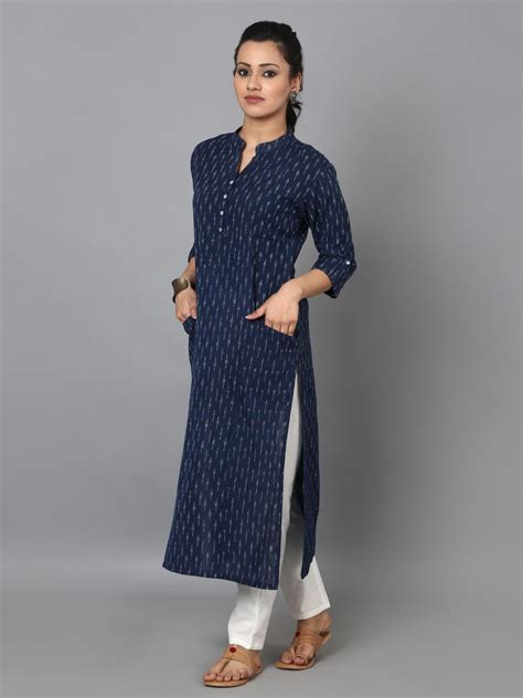 kurta pattern jeans blue cotton ikat front pocket kurta desi fashion couture