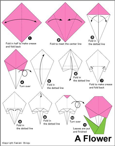 Flower easy origami instructions for kids