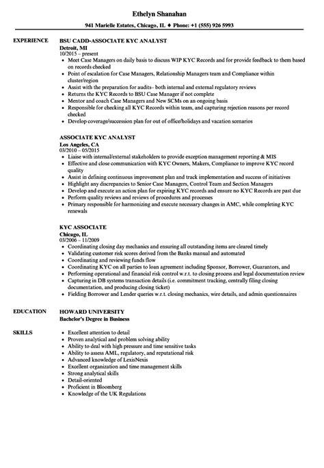 kyc associate resume sles velvet