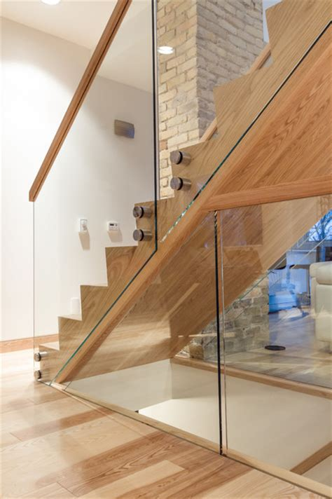 Wood And Glass Banister by Lyndale House Staircase And Railing Modern