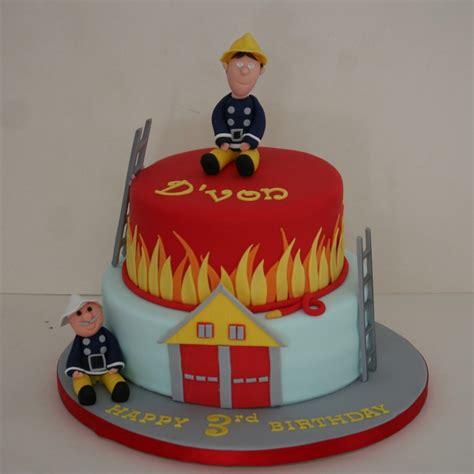 Xmas Decoration Ideas Home two tier fireman sam cake